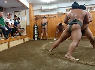 Sumo stable morning practice